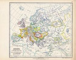 Európa térkép a magyar honfoglalás idején, kiadva 1913, eredeti, atlasz, Kogutowicz Manó, történelmi