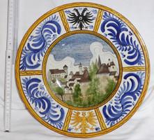 19. századi osztrák címeres tájképes keménycserép tányér