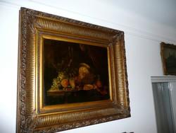 Gyönyörű antik olaj festmény álomszép keretben 77*67 cm
