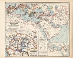 A Khalifatus 945, kiadva 1913, eredeti, atlasz, történelmi, Magyarország a honfoglalás végén, régi