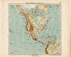 Észak - Amerika hegy- és vízrajzi térkép 1913, eredeti, Teljes atlasz, Kogutowicz Manó, régi
