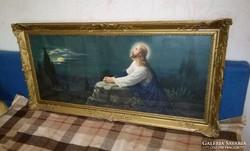 Üvegezett,szignózott Jézus kép , nagy , antik keretben !!