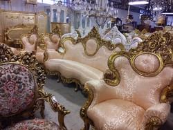 Faragott arany szuper luxus ülőgarnitúra barokk stílusban