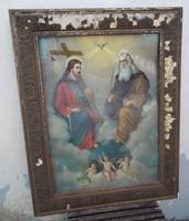 Antik szentképnyomat keretben eladó! / Jézus a Teremtővel és puttókkal