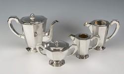 Ezüst nagy méretű art deco  teás-/kávéskészlet