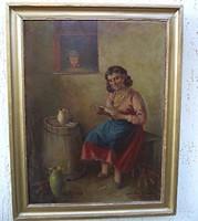 Szász István festmény  Nő kártyával