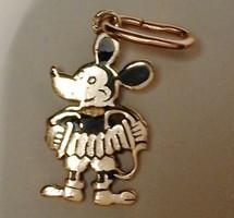 Régi 14 K Arany Mickey Mouse Mickey Egér 1930-as évek Ritkaság! Antik Medál Fekete Zománc