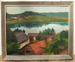 Bak Péter Róbert (1950) Tihany Belső tó c. olajfestménye eredeti GARANCIÁVAL !!!