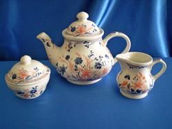 Gyönyörű Churchill England (Angol) porcelán (fajansz) tea kiöntő, cukortartó, tejkiöntő