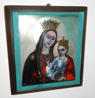 Mayer Berta : Szűz Mária és Jézus - Madonna tűzzománc