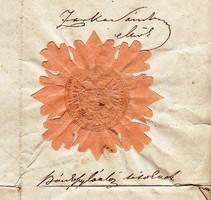 Okirat száraz bélyegzővel 1851.