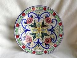 Nagy kézzel festett A. Mano jelzett fali tányér 28,5 cm