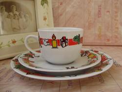 Retro porcelán karácsonyi mintás gyermek reggeliző készlet 3db-os II.