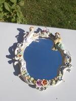 Csodaszép Porcelán puttos fali tükör