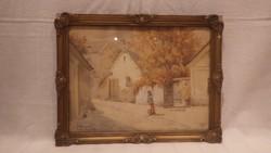 Jelzett régi akvarell festmény Tabán Arany kacsa utca