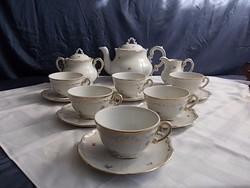 Zsolnay barokk  6sz teás készlet aranytollazott 1