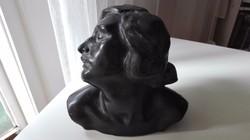Bory Jenő 1922 brüszt, Komocsin Ilonáról, nem porcelán, nem kerámia, nem márvány, Bory-bronz