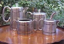 Álomszép, Sheffield, art deko teás, kávés készlet, két kannával, cukortartóval, kiöntővel