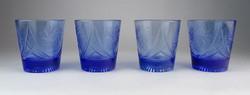 0O491 Kék csiszolt kristály pohár készlet 4 darab