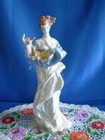 Nagyon szép Dorohoi porcelán hölgy, nő virágokkal 29 cm