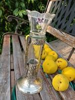 Antik ezüstözött üveg betétes váza