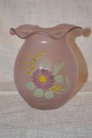 Fodros szájú huta üveg váza kézi festéssel