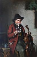 Kern Hermann Ármin - Intermezzo - Sörözgető muzsikus - Olaj, fa - Eredeti festmény - Örök garancia