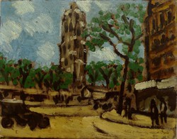 BÁLINT REZSŐ - Párizsi részlet 1930 - Tour St. Jacques - Eredeti olajfestmény