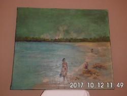 Tengerparton 60x70 cm olaj,vászon szignó nélküli festmény