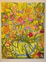 Festmény.Gyönyörű óriás virágcsendélet eladó.Akrilfestékkel készült.