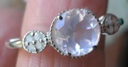 925 ezüst gyűrű, 18,3/57,5 mm, rózsakvarc és gyémánt