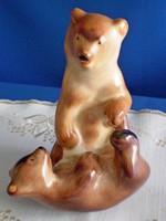 Nagyon ritka kerámia játszó macik, birkózó medve pár, gyönyörű állapotban
