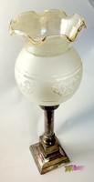 Antik gyertyával világító búrás asztali lámpa, gyönyörű ArtDeco ritkaság, vastagon ezüstözve.