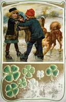 Dombornyomott litho,szecessziós, karácsonyi képeslap lóhere, korcsolya 1903