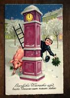 Karácsonyi képeslap kéményseprő, malac, lóhere, óra  1935