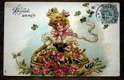 Dombornyomott litho,aranyozott , karácsonyi képeslap  1907