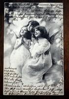 Karácsonyi képeslap angyalkáknak öltözve fotólap  1903