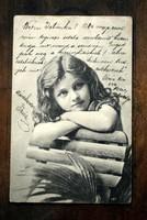Antik képeslap  kisleány 1901