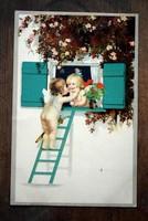Angyalkás litho képeslap  1928ban postázva