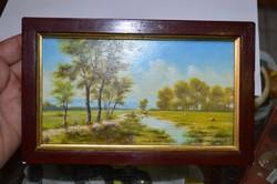 Festmény barna keretben