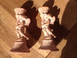 Angyal Angyalka puttó gyertyatartó pár terrakotta