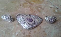 Gyöngyház intarziás-cirkon berakásos 925 ezüst szett 46,8gr