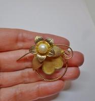 Meseszép antik  aranyozott gyöngyös bross