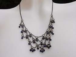 Azúrkék gyöngyös fekete collié-nyaklánc-nyakék alkalmi régi