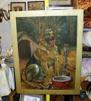 Farkaskutya festmény  jelzett