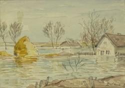 0O719 Szlányi Lajos : Áradás a tanyavilágban