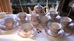 6 személyes angol fajansz teázó készlet