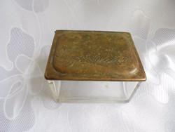 Üveg cukros doboz fém tetővel