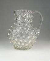 0O850 Antik hibátlan bütykös fújt üveg kancsó 1850