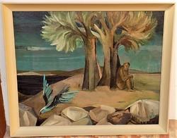 Lieber Éva (1932-2005) Kő és Madár c. képcsarnokos olajfestménye 86x71cm EREDETI GARANCIÁVAL !